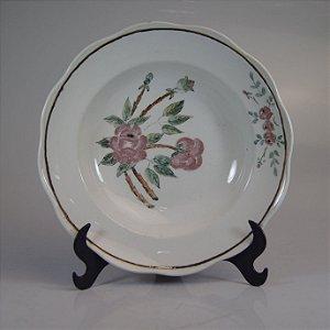 Prato em Porcelana Steatita Floral Pintado a Mão