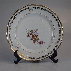 Prato em Porcelana Steatita Floral Filetado em Ouro