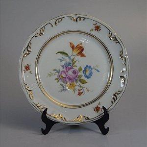 Prato de Sobremesa em Porcelana Schmidt Decorado Floral