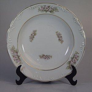 Prato em Porcelana Schmidt Floral Filetado em Ouro