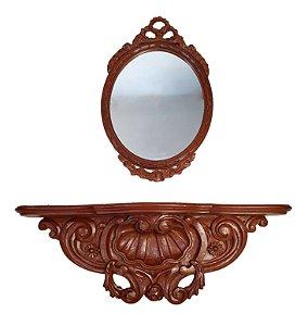 Aparador E Espelho Em Cerejeira Entalhada