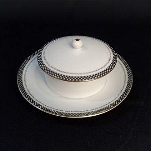 Açucareiro Em Porcelana Noritake Preto E Branco