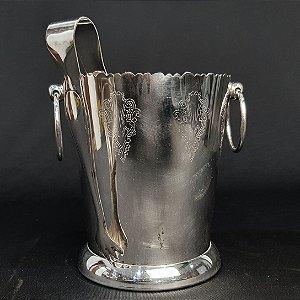 Balde De Gelo Eberle Com Pegador Em Banho De Prata