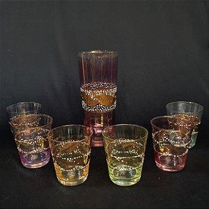 Conjunto Coqueteleira E Copos Cristal Colorido Década 60
