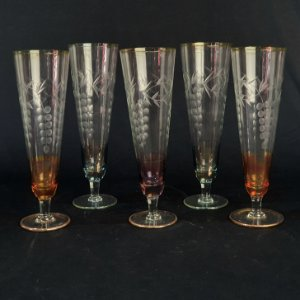 Conjunto 5 Taças Em Cristal Colorido