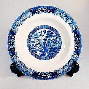 Prato Fundo em Porcelana Jingdezhen Andorinhas