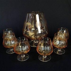 Conjunto Licoreira E Taças em Cristal Âmbar 7 Peças