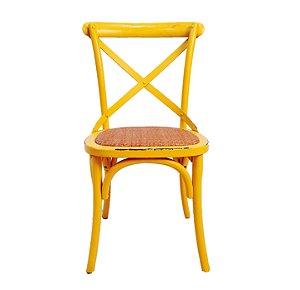 Cadeira Design Madeira E Aço Amarela