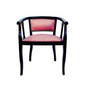 Cadeira Clássica Em Madeira Rosa e Preta