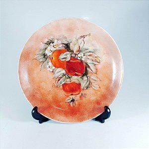 Prato Decorativo em Porcelana Pintado À Mão Floral