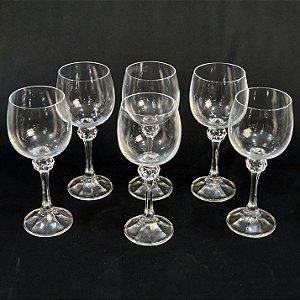 Jogo 06 Taças Em Cristal Para Vinho Branco 175ml