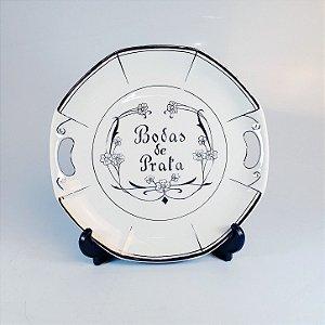 Prato de Bolo em Porcelana Schmidt Bodas de Prata