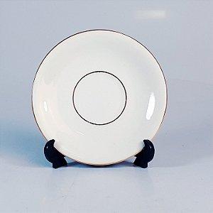 Mini Prato Decorativo em Porcelana Polovi Filetado