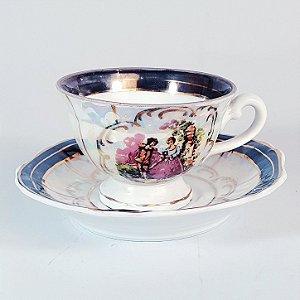 Xícara e Pires em Porcelana Germer Decorado