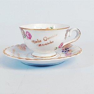 Xícara e Pires em Porcelana Steatita Floral