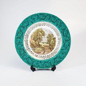 Prato Decorativo em Porcelana Filetado em Ouro