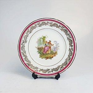 Prato Decorativo em Porcelana Real Filetado em Ouro