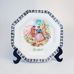 Prato Raso Decorativo em Porcelana Decorado em Casal