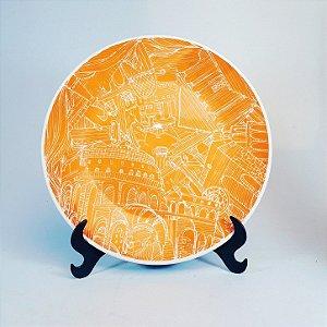 Prato Raso em Porcelana Oxford Decorado