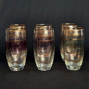 Jogo 06 Copos Em Cristal Filete Dourado década 60