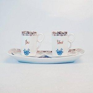 Conjunto para Café em Porcelana Steatita Filetada em Ouro