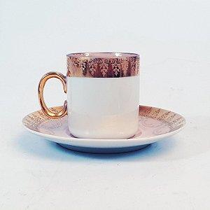 Xícara e Pires para Café em Porcelana Polovi Filetada