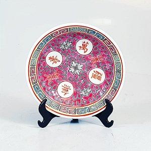 Prato Decorativo em Porcelana Chinesa Pintado a Mão