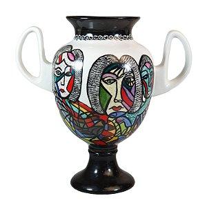Ânfora Vaso em Porcelana Pintado a Mão