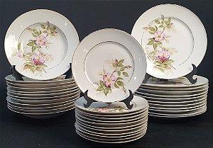 Jogo Café Chá E Jantar em Porcelana Mauá Motivos Flores