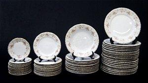 Aparelho De Jantar Realeza Em Porcelana Schmidt 54 Peças