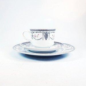 Prato Xícara e Pires para Café em Porcelana Real Floral