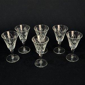 Jogo 6 Taças Para Vinho em Cristal Lapidado a Mão