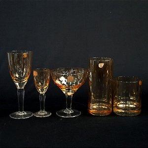 Jogo 30 Copos e Taças em Cristal Blumenau Âmbar Lapidado