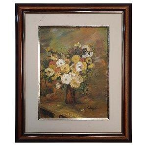 Quadro Pintura a Óleo Flores do Campo - Alair C. Tuma 1991