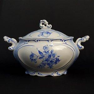 Sopeira Terrina em Porcelana Porcelanarte Flores Azul