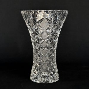 Vaso Em Cristal Tcheco Lapidado 18cm