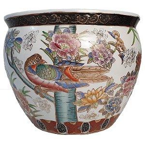 Cachepot Vaso Chinês em Porcelana Pintado a Mão