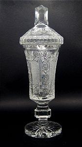Bomboniere Baleiro Em Cristal Bohemia Lapidado 40cm
