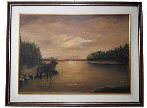 Quadro Pintura a Óleo Alce - Ivany 1986