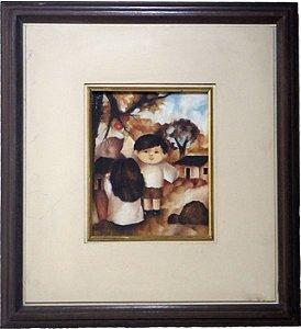 Quadro Pintura a Óleo Colhendo Maçãs - Jan Boguslawski 1968