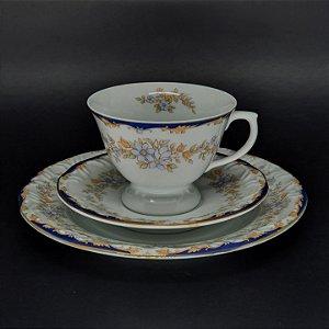 Trio Porcelana Schmidt Prato Pires e Xícara