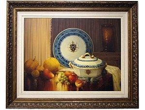 Quadro Pintura a Óleo Porcelanas e Frutas - W. Vitorino
