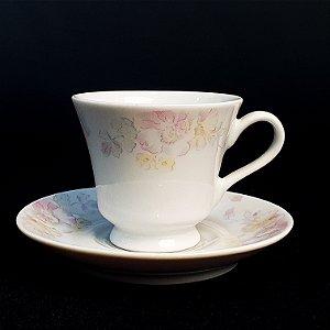 Xícara e Pires para Café em Porcelana Germer Floral