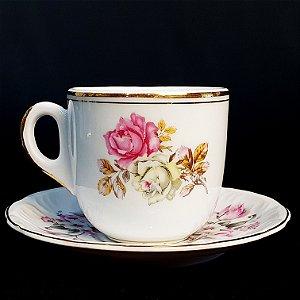Xícara e Pires para Chá em Porcelana Schmidt Mãe