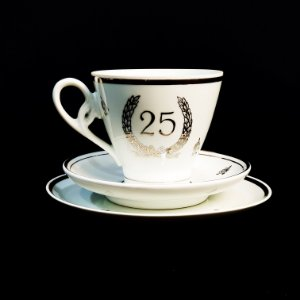 Xícara com Pires e Prato em Porcelana Schmidt Bodas de Prata