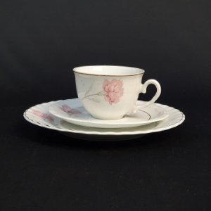 Xícara com Pires e Prato em Porcelana Steatita Floral