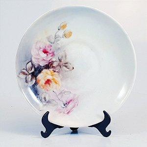 Prato Decorativo em Porcelana Porcelanarte Floral