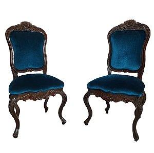 Par de Cadeiras em Imbuia Estilo Luis XV Veludo Azul