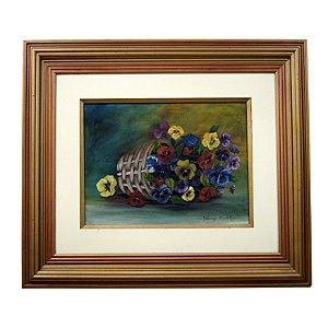 Quadro Pintura a Óleo Vaso de Flores Caídas Cores 78X68 cm