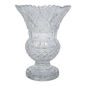 Vaso em Cristal Lapidado Tcheco 24cm